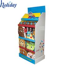 Exhibidor de exhibición pop-up del juguete de la cartulina del supermercado de 3 gradas
