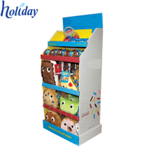 Présentoir promotionnel de jouet en carton de supermarché de 3 rangées