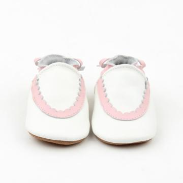 Nuevo diseño Pink Lacework Baby Soft Leather Shoes