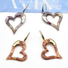 2020 2021 Custom simple fish hook ear jewelry for women Acrylic dangle heart earrings