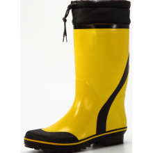 yellow &black men's sweat-absorbent lining rubber boots