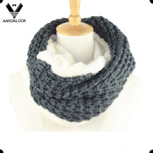 Women′s Winter Warm Jacquard Neck Warmer with Faux Fur