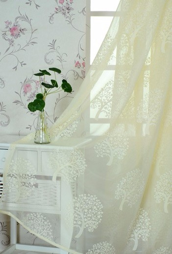 Household Money Tree Plant Pattern Curtain A