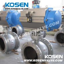 Válvulas de esfera excêntricas de aço fundido com atuador pneumático