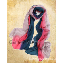 Gorgeous fashion 100% silk hand painting chiffon scarf