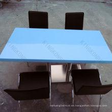 mesas de comedor públicas de superficie sólida azul popular