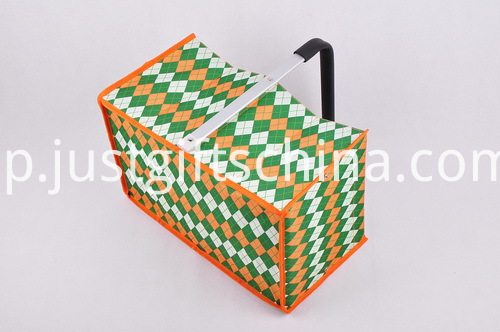 Custom Tweed Folding Shopping Basket - Single Handle (2)