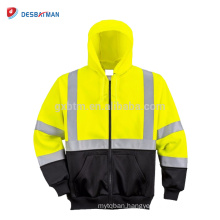 High Visibility Lemon and Black Color Full Zipped Hoodie Sweatshirt with 3M Reflective Strips Night Work