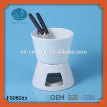 Ferramentas de cozinha ,, fondue de porcelana conjunto usado com pessoas e vela, fondue de chocolate de cerâmica branca com logotipo