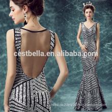 Schickes stilvolles Maxi geöffnetes Backless Frauen-Silber-neues Ankunfts-Abend-Kleid 2016 langes Nixe-Abend-Kleid-Silber