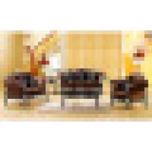 Stoffsofa mit Holzsofa und Beistelltisch (650C)