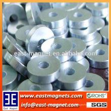 Forma de anillo pequeño imán de neodimio recubierto de zinc con agujero para la venta / imán fuerte N35 para lavadora