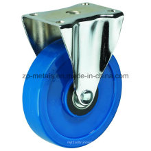 Roulettes fixes fixes en PVC bleu biaxial de 3 pouces