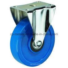 Rodas de rodízio fixo de PVC azul biaxial de médio porte de 3 polegadas