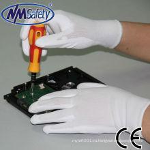 NMSAFETY безопасности белый ПУ рабочие перчатки