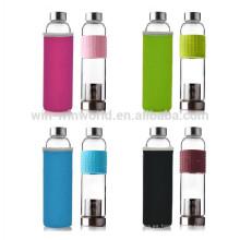 Botella de agua transparente de vidrio borosilicato