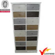 Gabinete de armazenamento de gavetas coloridas de estilo antigo de madeira