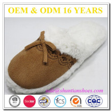 New design micro suede bowknot with faux fur lined winter warm slipper for woman