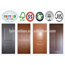 Piel de puerta hdf de imprimación blanca de buena calidad / Piel de chapa de madera / Piel de puerta de melamina