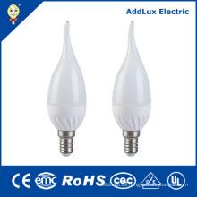 Luz de la vela del blanco LED caliente de Dimmable 3W E14 de 220V AC