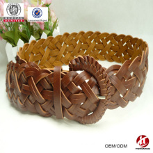 pu material 2014 new fashion women braided stretch belt female leather belt