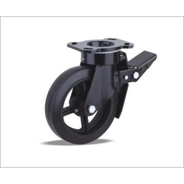 Roulette pivotante avec roue en caoutchouc élastique