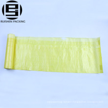 Yellow HDPE plastic drawstring rolling bags for garbage