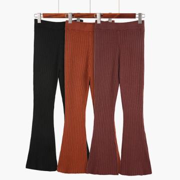 Pantalon évasé en laine à taille haute pour femmes