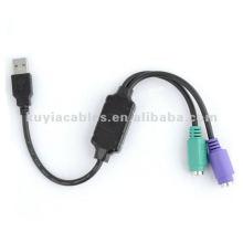 2.0 Cabo USB para PS2 Adaptador de cabo para conversor de PC para teclado de mouse