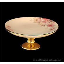 2020 new design  with flower  ceramic plate gold leg  dried fruit cakes high plate with leg
