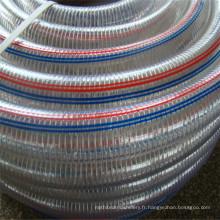 Tuyau d'aspiration renforcé par fil d'acier clair de PVC de 4 pouces / flexible tuyau d'aspiration en acier transparent de PVC