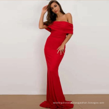 Off Shoulder Overlap Length Floor Prom Maxi Bodycon Evening Dress