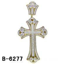925 Sterling Silver Men Stuff Micro Setting Cross Pendant.