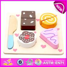 Bestes Nahrungsmittelkuchen-Spiel stellte Spielwaren, hölzernes Spiel-Lebensmittel-Spielzeug ein und schnitt Nahrungsmittelspiel-Satz-Spielwaren, Kinderküchen-Spielzeug-gesetztes Snack-Nahrungsmittelspielzeug W10b091-D