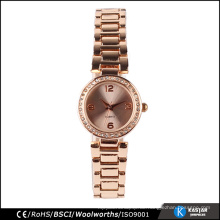 Stein Gesicht Rose Gold Frauen Genf Quarzuhr, bsci china Uhren