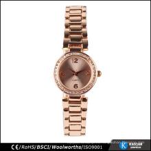 Cara de piedra de oro rosa mujeres reloj de cuarzo geneva, relojes bsci china