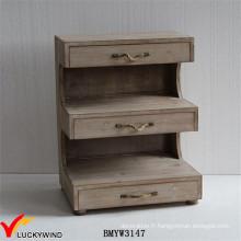 Organisateur de salon unique Cabinet de stockage en bois antique à 3 tiroirs