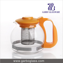 Machine Blowing Glass Tea Pot with Plastic Handle and Lid
