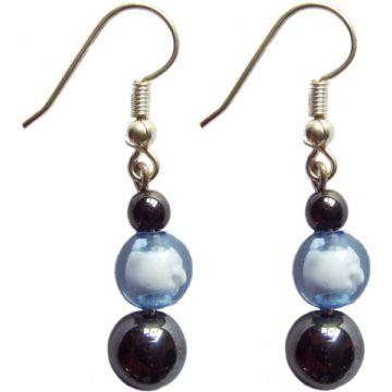 Hematite Earring With 925 Blue Silver Hook