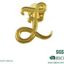 Plaqué or métal lettre épinglette épinglette logo design épinglette badge emblématique à vendre (w-247)