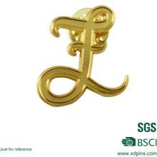 Gold Plating Metal Letter Lapel Pin Logo Design Pin Badge Emblem for Sale (w-247)