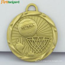 Medalha de prata barata personalizada com fita