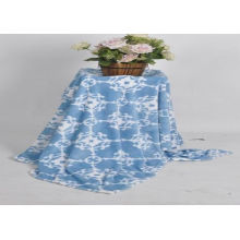 Enviroment friendly white blue no sew embroidered fleece blanket queen size