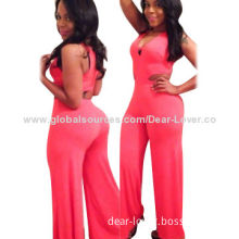 Sexy Cutout Jumpsuit, Made of Polyester + Spandex, Available in Various Sizes