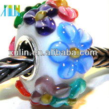 murano glass cupronickel plating silver core european beads, size 8*14mm