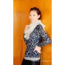 Jersey de cuello redondo en cashmere para mujer con estampado