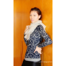 Ladies Cashmere Crew Neck Pullover with Printing