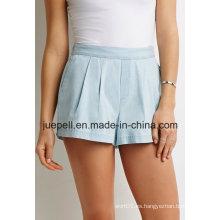 Cuello de plisado Elasticized cintura Slanted bolsillos delanteros Denim Shorts