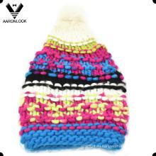 Модная красочная теплая толстая длинная ручная шапка