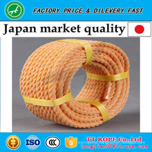 Orange color 3 strands twisted kp rope for Japan market